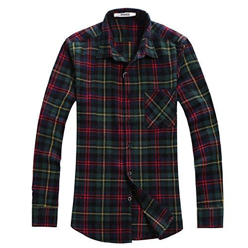 Ochenta camicia casual - maniche lunghe - a quadri flanella - uomo n002 chris green asian 3xl - italiana xl+