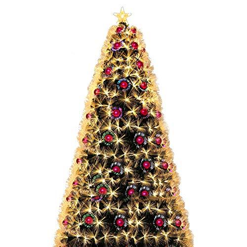 XIAOMEI Assemblaggio Facile Albero di Natale Ottico della Fibra con Gli Ornamenti Artificiale Lusso Gamba in Metallo Porta a Battente(Giallo Caldo)-A 120cm(47inch)