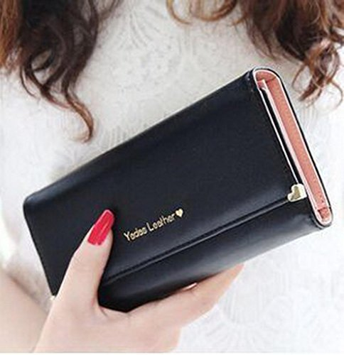 Prafa Damen Mädchen Geldbörse Clutches Geldbeutel Portemonnaie Brieftasche Kreditkartenetui Wallet Lang (#A Schwarz)