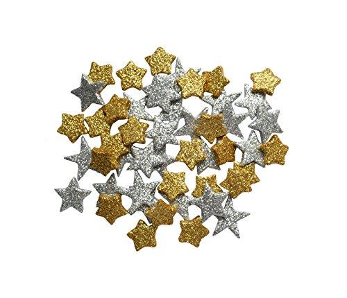 Helmecke & Hoffmann * Glitzernde kleine Deko-Sterne Streudeko ca. 45 Stück   Gold-Silber oder rot   Weihnachten Weihnachtssterne   Ø ca. 2 cm