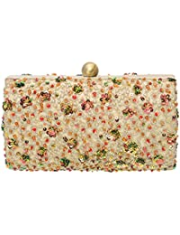 Fabric And Lace Handicraft Party Wear Hand Embroidered Box Clutch With Zardosi And Embroidery On Elegant Imported...