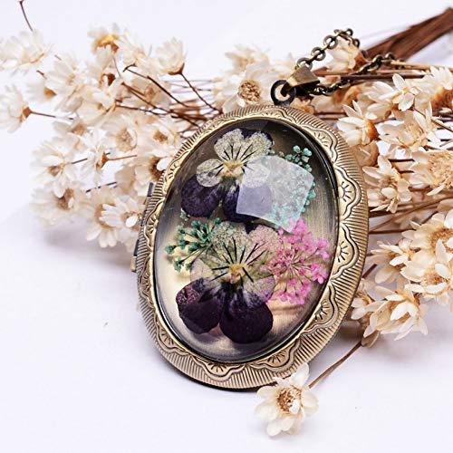 YANOAID Getrocknete Stiefmütterchen Blume Medaillon Anhänger Halsketten Antik Bronze Vergoldet Lange Kette Glas Halsketten Für Frauen Geschenk