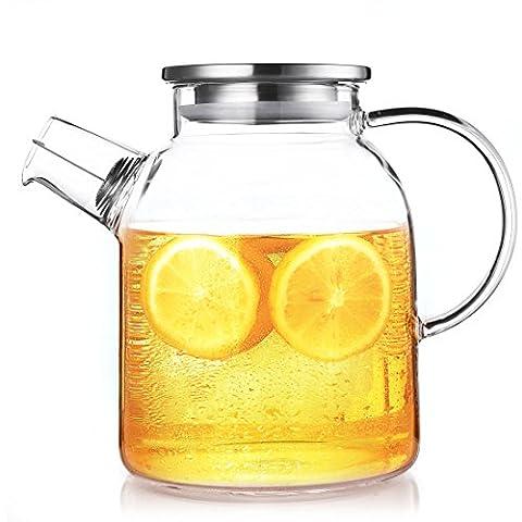 Qileyin 1600ml Carafe, verre transparent résistant à bouilloire Théière Café jus Carafe avec filtre inoxydable fonctionnelle pour maison Cafe Restaurant de cuisine Cadeau, Gybl060