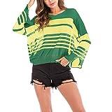 Feitong Damen T-Shirt Damen Plus Size V-Ausschnitt Colorblock Gestreiftes Shirt Split(EU-42/CN-L, Grün)