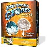 Abre 4 geodas reales - Kit de ciencias y rocas para principiantes