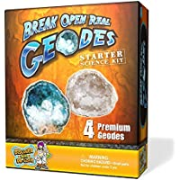 Discover with Dr. Cool Abre 4 geodas reales - Kit de ciencias y rocas para principiantes