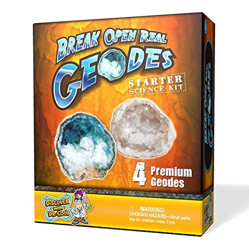 Discover with Dr. Cool Geode Starter Rock Science Kit – Crack Open 4 Amazing Rocks and Find Crystals! (Mineral-starter-kit)
