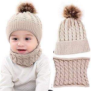 LYworld Conjunto de Bufanda y Gorro de Punto Unisex Niños Niñas Invierno cálido Punto Beanie Gorros con Pompon Bufanda de Punto Cuello Redondo Bebé 5
