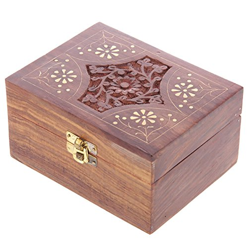 Sheesham Holzbox für 12 Duftoele oder aetherische Oele