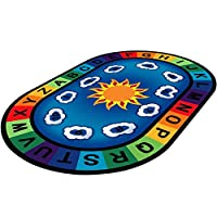 WERUGS Vibrant Oval Kids Area Rugs, Educational ABCs Numbers Anti-Slip Child Large Carpet, for Boy Girl Kids Playroom Kids Classroom Bedroom Living Room