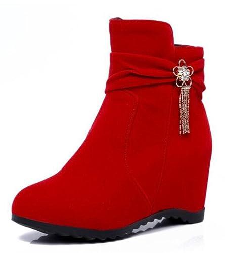 Easemax Damen Modisch Nubuk High Heels Metall Quaste Kurzschaft Stiefel Mit Absatz Schwarz 32 EU PurHx20jec