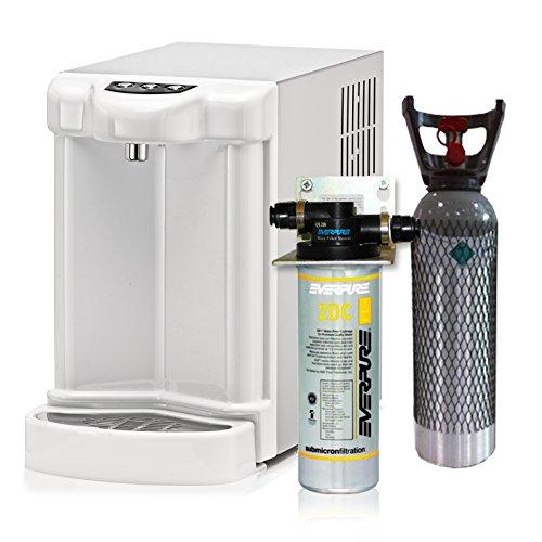 Wasserfilter System ForHome® für die küche Kühler Karbonator Wasseraufbereiter Ultrafilter Anlage Mikrofiltrations Wasser Everpure übertisch , gekühlte Kühlwasser Sprudelwasser +1 CO2-Zylinder