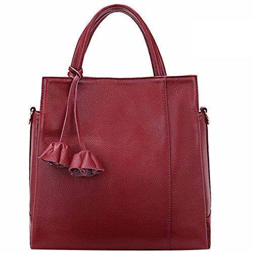 Lady Weich Große Kapazität Litschi Textur Handtaschen Schultertasche Multicolor Red2
