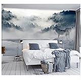 3D Wallpaper Wandbild Papier Berg Nebel Wald Wolf Tier Wandbild Für Schlafzimmer Sofa Hintergrund Wand Fototapeten Wand Papier Aufkleber Seidentuch-Aufkleber200X140Cm,Ayzr
