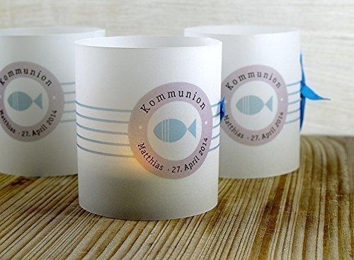 Set 8 x personalisierte Lichthülle für Tischlicht grau blau zur Kommunion, Konfirmation, Taufe, Firmung, mit Fisch