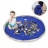 LEADSTAR 60 Pouces (150CM) Grand Sac de Rangement de Jouets, Coton Toile Tapis Organisateur de Jouets pour Bébé Enfant(Bleu)