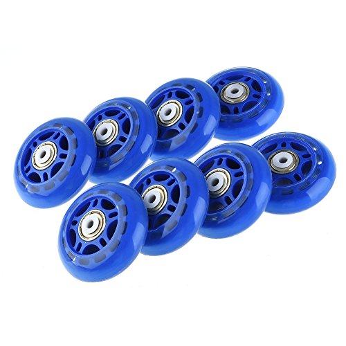 RUNACC Recreativas para Patines Ruedas Práctico Rollerblade Ruedas Durable juego de ruedas Skate con Diseño Luminoso, apto Paray para Patines de Patinaje, Set de 8, Color azul, Luminous