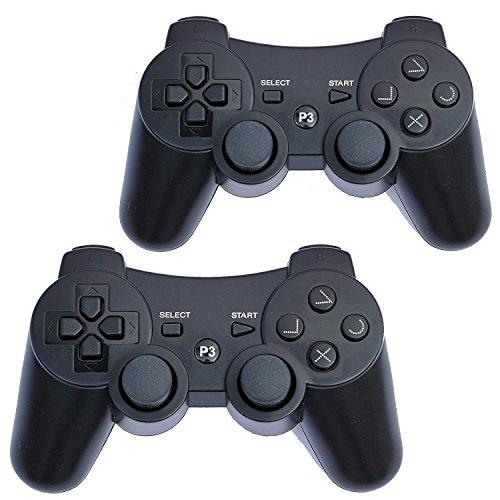 FSC 2Stück Gemischt Farben PS3Kabellose Fernbedienung Controller Gamepad für Verwendung mit Playstation 3 Schwarz 2XBlack