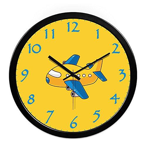 Wall clock small plane children 39 s room children bedroom for Kids room clocks