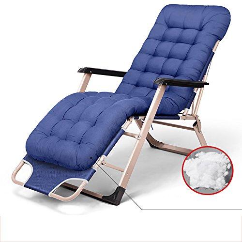 LHA Lit Pliant Inclinable Pliant Déjeuner Lit Siesta Chaise Bureau Lit Simple Simple Plage Lit Camp Lit (Couleur : Blue)