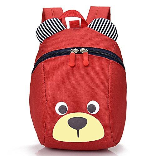 Kinderrucksack TEAMEN Anti verloren Kinder Rucksack Mini Bär Schule Tasche für Baby Jungen Mädchen Kleinkinder 1 - 3 Jahre (Rot) (Mädchen Kleinkind Leinwand)