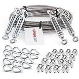 Seilwerk STANKE - Cable de acero trenzado galvanizado de 3 mm, 6 x 7, 4 tensores M5, anilla + gancho, 16 guardacabos, 16 abrazaderas – Juego de 6