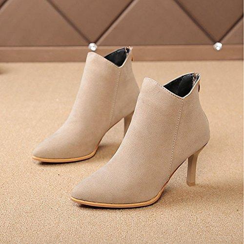 HSXZ Scarpe donna Nabuck Pelle PU Autunno Inverno Comfort moda Stivali Stivali Stiletto Heel Punta Babbucce/stivaletti di abbigliamento casual Beige Beige