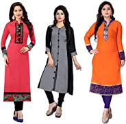 RAMDEV Women's cotton straight Kurta (Pack of 3) (Combo Kurti For Girl1_ Multi_ Free S
