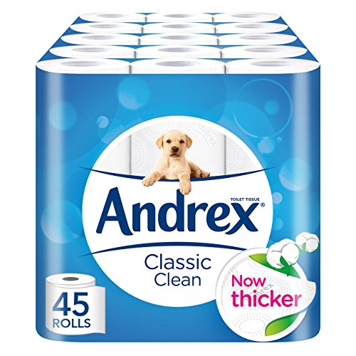 Andrex Classic Clean Toilet Roll Tissue Paper – Pack of 45 Rolls 516bamqZHwL