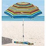 Tommy Bahama - Sombrilla Multicolor con ancla de arena 2,1 m de diámetro y 2,45...