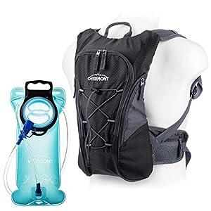 Overmont 10L Pack Mochila Hidratación, 2L-2.5L deposito de agua y 8L de capacidad de almacenamiento, vejiga bolsa de agua para camping senderismo ciclismo correr acampar o caminar