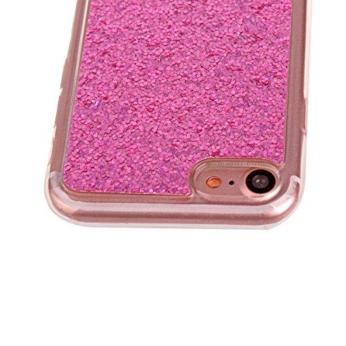 """Coque iPhone 7, Étui iPhone 7, ISAKEN Coque pour Apple iPhone 7 (4.7"""") - Étui Housse Téléphone Étui Marbre Design TPU Silicone Ultra Mince Gel Arrière Case Antichoc Doux Durable Résistant Aux Rayures  rose rouge B"""