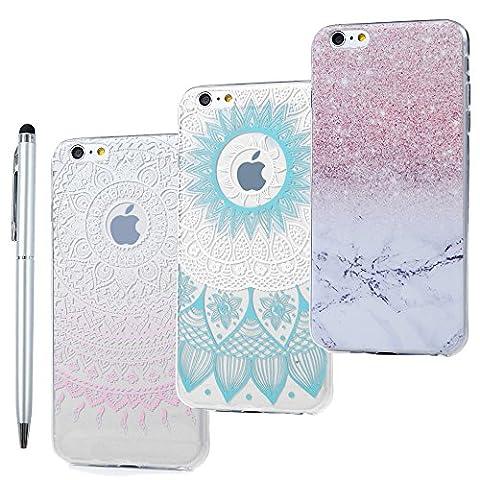 Coque de iPhone 6 / iPhone 6S - STXMALL Lot de 3 Coques TPU Solide Antichoc Légère + Stylo Tactile Blanc Etui Coque iPhone 6 / iPhone 6S Coloré - Tour + Papillons fille + Capteur des rêves