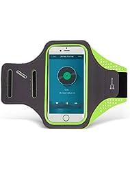 KOVOL Sportarmband Handyhülle Wasserdicht, Ultra Dünnes Schweißabweisendes Wasserdichtes Lauf Armband mit Schlüssel Bargeld Halterung, universell passend für iPhone 7/6/6s Plus, iPhone 5/5C/5S/5/SE/ Samsung Galaxy S7/S6/S7edge (inner 5.4 Zoll) (Grün)