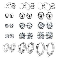 JewelrieShop Earrings Studs Set for Women Girl Stainless Steel CZ Ball Flat Hoop Earing Hypoallergenic Silver Multiple Piercing Ear Stud for Men (15 Pairs, Silver Tone)