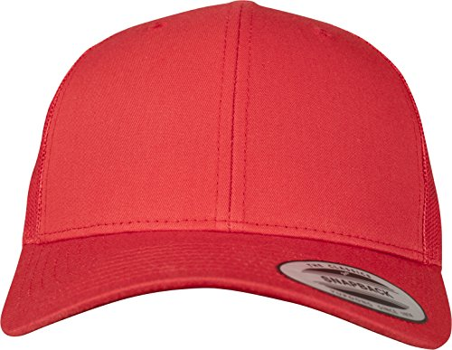 Flexfit Snapback Unisex Baseball-Mütze | Trucker Kappe Mesh Basecap, Rot (red), Gr. One size Panel-mesh-cap