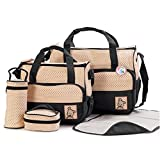 BabyHugs® 6pcs Baby Nappy Changing Diaper Messenger Hospital Maternity Bag Set including Bag Organiser - Black