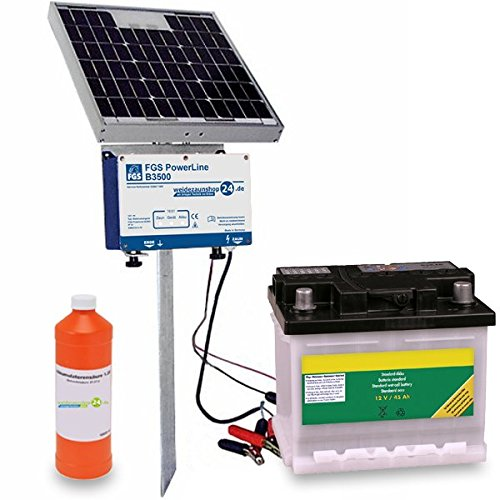 *Solar Weidezaungerät FGS Power Line B3500 inkl 10W Solarmodul, Aufstellpfahl, 45AH Akku & Batteriesäure*