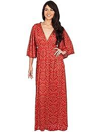 KOH KOH® Damen Elegante Cocktail mit V-Ausschnitt Kimono Cocktail Lang Maxi Kleid