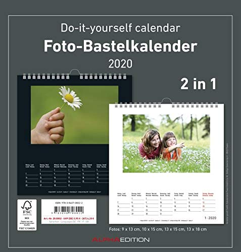 Foto-Bastelkalender 2020 - 2 in 1: schwarz und weiss - Bastelkalender - Do it yourself calendar (21 x 22) - datiert - Fotokalender -