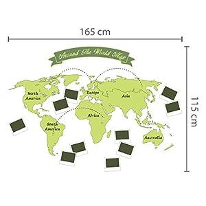 extraíble Autoadhesivo Adhesivos de pared Alrededor El Mundo Mapa Arte Mural VINILO DECORACIÓN HOGAR BRICOLAJE Living Dormitorio Decor papel pintado HABITACIÓN INFANTIL REGALO 165×115 cm, Verde