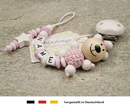 Personalised Baby DUMMY CLIP CHAIN Pacifier Soother Holder with preferred name girls /& boys motif bear /& white star