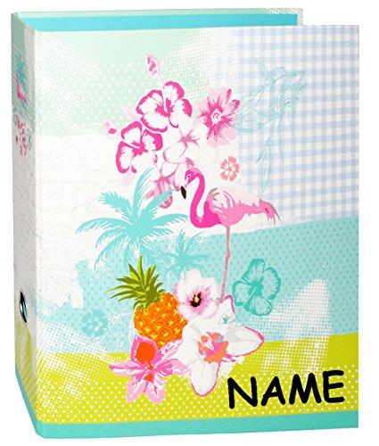 alles-meine.de GmbH Ordner / Ringbuch / Sammelordner -  Flamingo & Hibiskus Blume - Hawaii  - incl. Name - A4 - extra breit - Ringordner für Dokumente / 2 Ring & Hebel - Mechan..