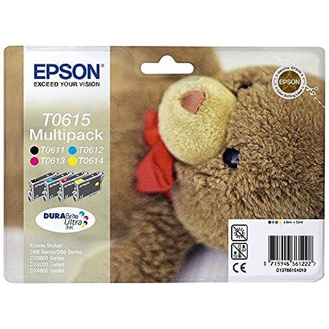 Epson Original T0615 Black and Colour Multipack Ink Cartridges (4