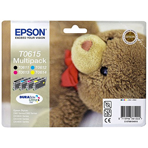 Epson Original T0615 Teddybär, wisch- und wasserfeste Tinte (Multipack, 4-farbig) (CYMK)