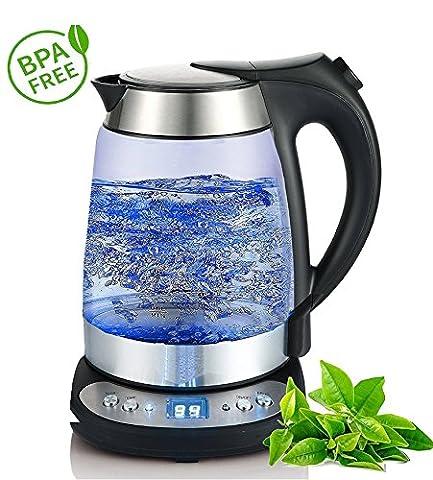 Glas Edelstahl Wasserkocher mit Temperaturwahl (55°C-95°C) | 2.200 Watt | 1,7 Liter | Warmhaltefunktion | exclusive blaue LED Beleuchtung | Temperatureinstellung |