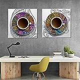 FA LEMON Wandbilder Leinwandbilder Wanddekoration Leinwandbilder Fotodrucke Moderne Küche Szene Kaffee auf Leinwand-50x50cmx2 Stück ohne Rahmen