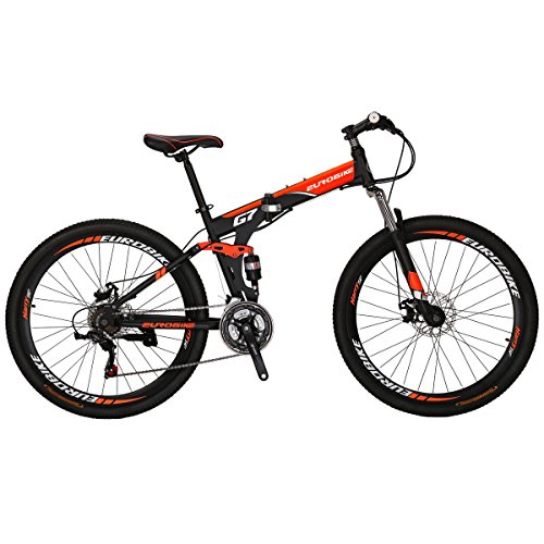 516bg88Vp9L. SS500  - Eurobike G7 Mountain Bike 21 Speed Steel Frame 27.5 Inches Spoke Wheels Dual Suspension Folding Bike Blackorange