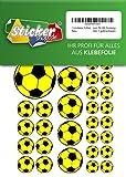 114 Aufkleber, Fußball, Sticker, 15-50 mm, gelb/schwarz, aus PVC, Folie, bedruckt, selbstklebend, EM, WM, Bundesliga