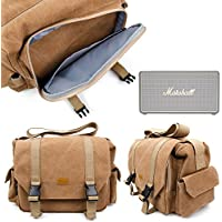 Sac toile de coton couleur sable pour MARSHALL Stockwell Enceinte portable PC / Stations MP3 RMS 25 W & Sony SRS-XB2 - compartiments modulables, par DURAGADGET